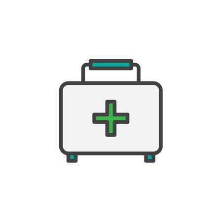 First aid kit filled outline icon, line vector sign, linear colorful pictogram isolated on white. Medical case symbol, illustration. Pixel perfect vector graphics