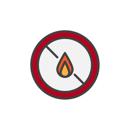 No expose flammable liquids filled outline icon, line vector sign, linear colorful pictogram isolated on white. No fire symbol, logo illustration. Pixel perfect vector graphics