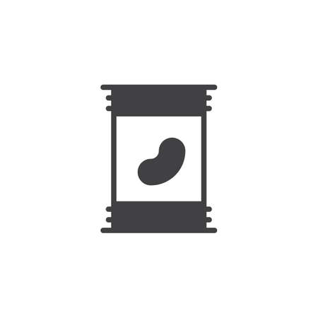 Canned beans icon vector, filled flat sign, solid pictogram isolated on white. Symbol, logo illustration. Vectores