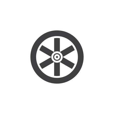 Western wooden wheel icon vector, filled flat sign, solid pictogram isolated on white. Symbol, logo illustration.
