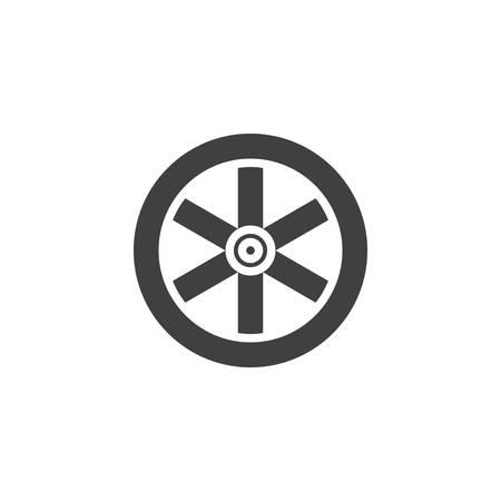 Westerse houten wiel pictogram vector, gevulde platte teken, solide pictogram geïsoleerd op wit. Symbool, logo illustratie.