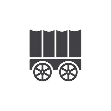 Horse carriage wagon icon vector, filled flat sign, solid pictogram isolated on white. Symbol, logo illustration. Ilustracja