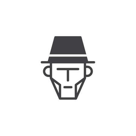 Cowboy face icon vector, filled flat sign, solid pictogram isolated on white. Man in hat symbol, illustration. Çizim