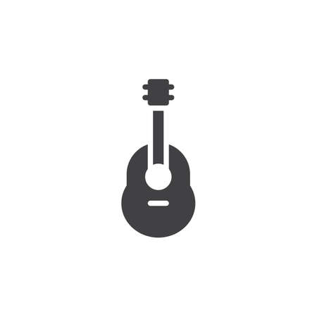 Acoustic guitar icon vector, filled flat sign, solid pictogram isolated on white. Ukulele symbol, logo illustration.