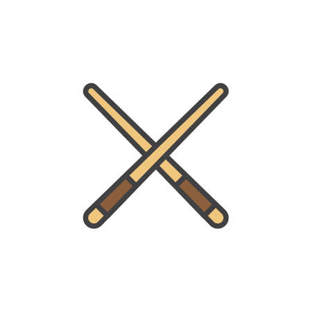 Pool cue filled outline icon, line vector sign, linear colorful pictogram isolated on white. Billiard cue symbol, logo illustration. Pixel perfect vector graphics