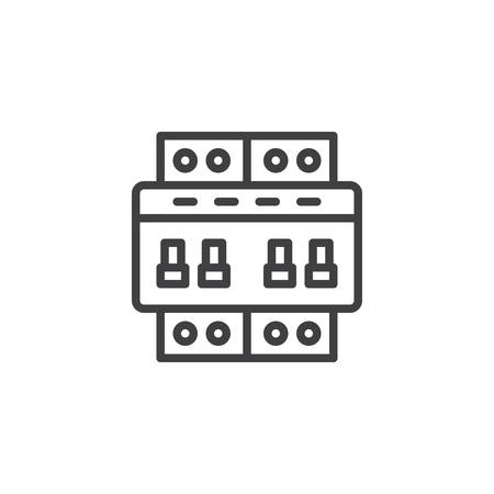 Circuit breaker switch line icon, outline vector sign, linear style pictogram isolated on white. Electric toggle switch symbol, icon illustration. Editable stroke