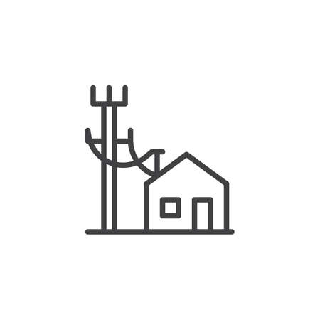 Electric poles line and house line icon, outline vector sign, linear style pictogram isolated on white. Electric power supply symbol, icon illustration. Editable stroke Illustration