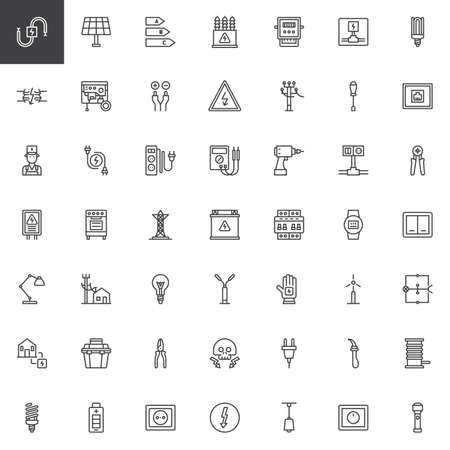 Electrician elements line icons set, outline vector symbol collection, linear style pictogram pack. Signs, logo illustration. Set includes icons as wire, high voltage, electric meter, power supply Иллюстрация
