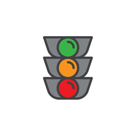 Traffic light filled outline icon, line vector sign, linear colorful pictogram isolated on white. Symbol, logo illustration. Pixel perfect vector graphics Illustration