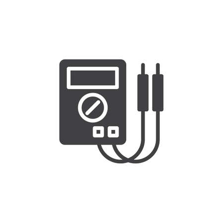 Digital multimeter icon vector, filled flat sign, solid pictogram isolated on white. Electrical measuring instrument symbol, illustration. Иллюстрация