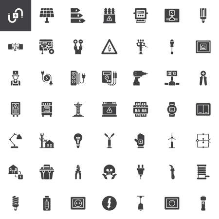 Electrician elements vector icons set, modern solid symbol collection, filled style pictogram pack. Signs, logo illustration. Set includes icons as wire, high voltage, electric meter, power supply Vettoriali