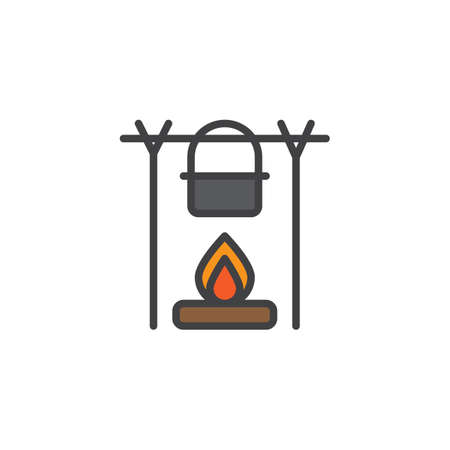 Campfire and kettle filled outline icon, line vector sign, linear colorful pictogram isolated on white. Pot over the campfire symbol, icon illustration. Pixel perfect vector graphics.