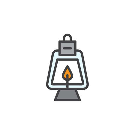Oil lamp filled outline icon, line vector sign, linear colorful pictogram isolated on white. Symbol, icon illustration. Pixel perfect vector graphics. Ilustração