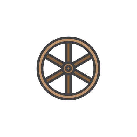 Westelijk houten wiel gevuld overzichtspictogram, lijn vectorteken, lineair kleurrijk pictogram dat op wit wordt geïsoleerd. Symbool, pictogram illustratie. Pixel perfecte vectorafbeeldingen. Vector Illustratie