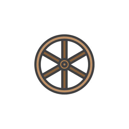 Western wooden wheel filled outline icon, line vector sign, linear colorful pictogram isolated on white. Symbol, icon  illustration. Pixel perfect vector graphics.