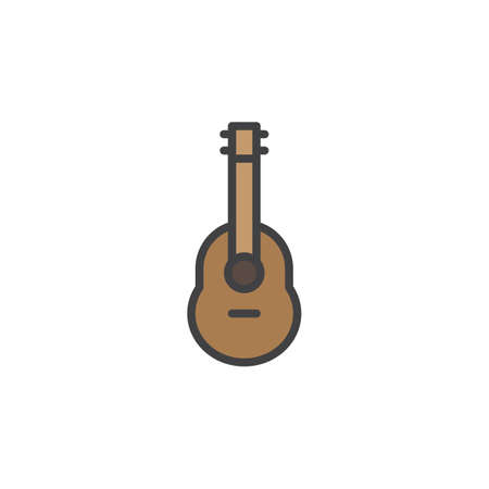 Acoustic guitar filled outline icon, line vector sign, linear colorful pictogram isolated on white. Ukulele symbol, icon illustration. Pixel perfect vector graphics.