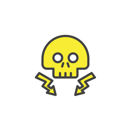 High voltage death skull with lightning beam filled outline icon, line vector sign, linear colorful pictogram isolated on white. Danger electricity symbol, logo illustration Illustration