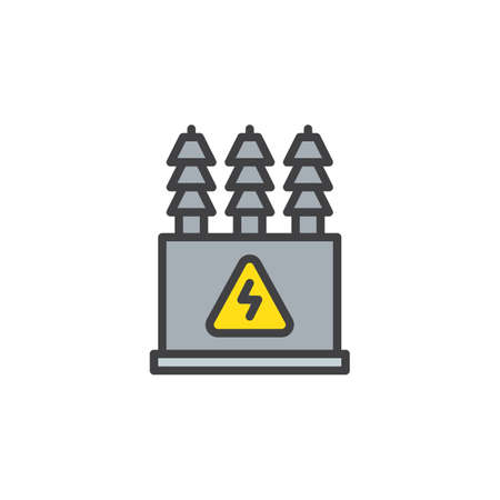 Electric transformer filled outline icon vector illustration Vectores