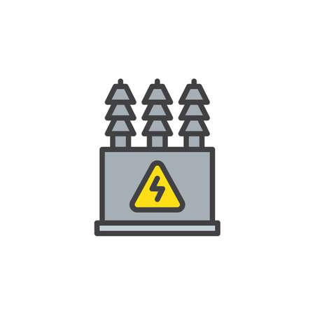 Transformateur électrique rempli contour icône illustration vectorielle