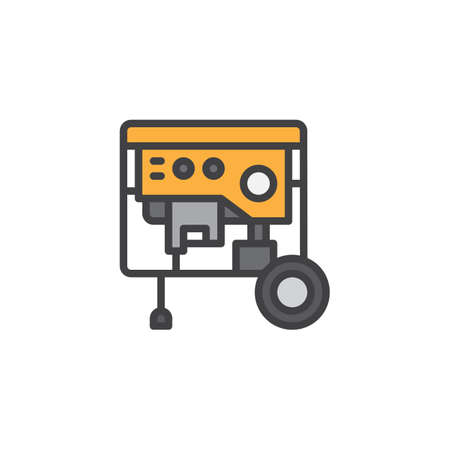 Portable power generator filled outline icon vector illustration