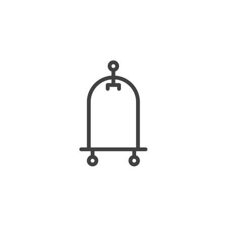 Hotel trolley outline icon. linear style sign for mobile concept and web design. Luggage cart simple line vector icon. Symbol, icon illustration. Pixel perfect vector graphics. Illustration