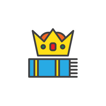 Crown and book filled outline icon, line vector sign, linear colorful pictogram isolated on white. Higher education symbol, illustration. Pixel perfect vector graphics Illustration