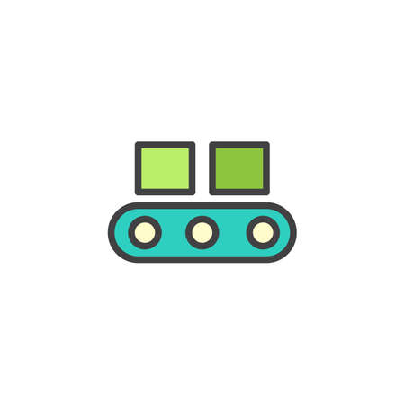 Transportband gevuld overzichtspictogram, lijn vectorteken, lineair kleurrijk pictogram dat op wit wordt geïsoleerd. Kartondozen op het symbool van de fabrieksplatformindustrie, illustratie. Pixel perfecte vectorafbeeldingen Vector Illustratie