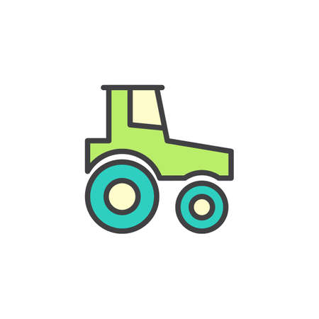 Tractor filled outline icon, line vector sign, linear colorful pictogram isolated on white. Symbol, illustration. Pixel perfect vector graphics