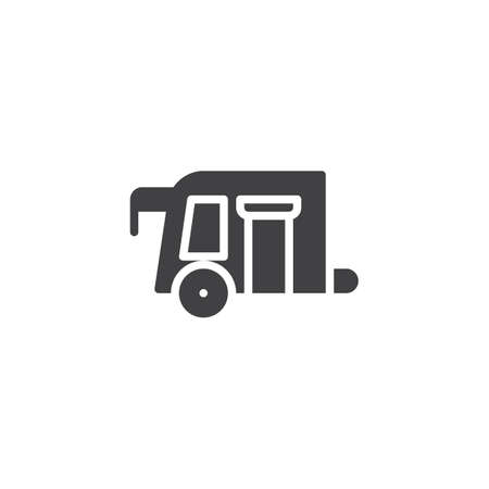 Camping trailer vector icon. Filled flat sign for mobile concept and web design.