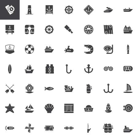 Nautical vector icons set, modern solid symbol collection, filled style pictogram pack. Signs, logo illustration. Set includes icons as lighthouse, anchor, lifejacket, submarine, boat, ship marine Vectores