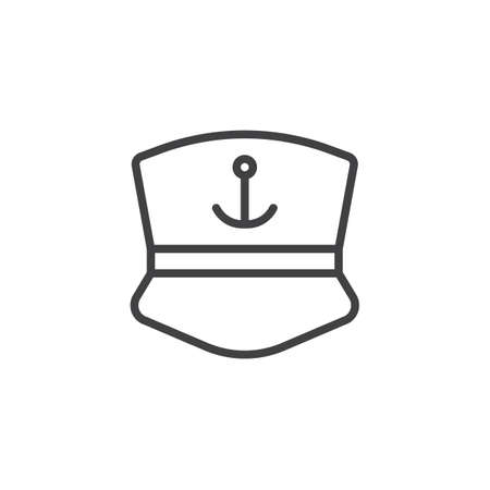 Captain cap outline icon. linear style sign for mobile concept and web design. Sailor's cap with anchor simple line vector icon. Symbol, logo illustration. Pixel perfect vector graphics