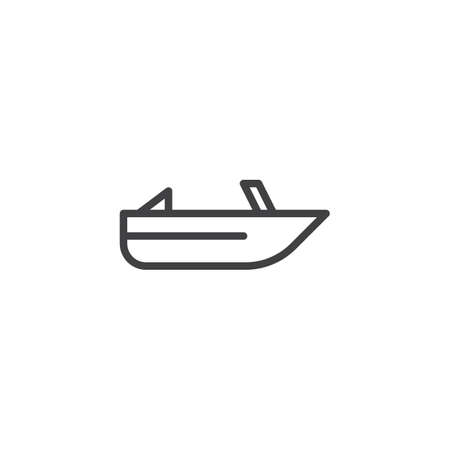 Roofless speed boat outline icon. linear style sign for mobile concept and web design. Pleasure boat simple line vector icon. Symbol, logo illustration. Pixel perfect vector graphics
