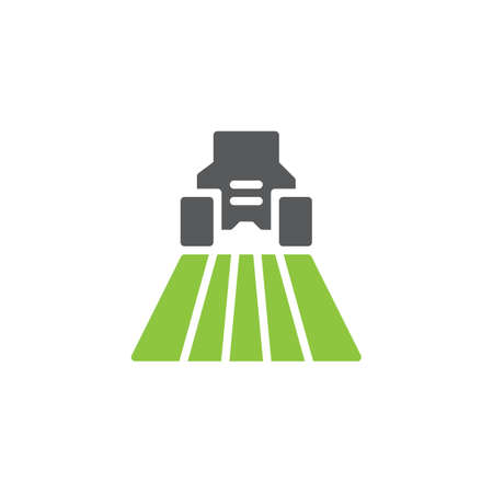 Agricultural machinery icon vector, filled flat sign, bicolor pictogram, green and gray colors. Combine harvester on field symbol, logo illustration