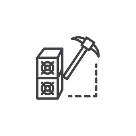 Cryptocurrency mining hardware outline icon. linear style sign for mobile concept and web design. Pickaxe simple line vector icon. Symbol, logo illustration. Pixel perfect vector graphics.