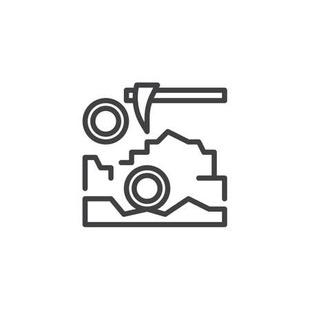 Bitcoin mining outline icon. linear style sign for mobile concept and web design. Cryptocurrency pickaxe simple line vector icon. Symbol, logo illustration. Pixel perfect vector graphics. Vettoriali