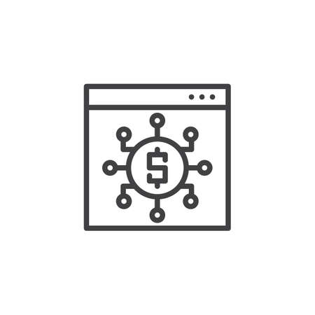Investment dollar outline icon. linear style sign for mobile concept and web design. Browser with financials connections simple line vector icon. Symbol, logo illustration. Illustration
