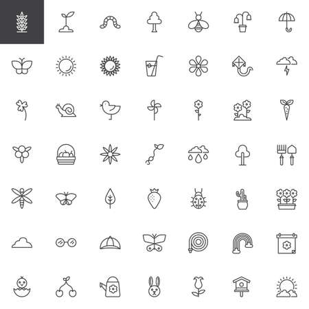 Spring season universal outline icons set. linear style symbols collection, line signs pack. vector graphics. Set includes icons as plant, sprout, sun, chicken, windmill, sunflower, flowers, tree