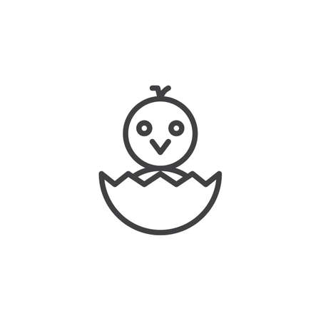 Newborn chicken in eggshell outline icon linear style sign for mobile concept and web design.