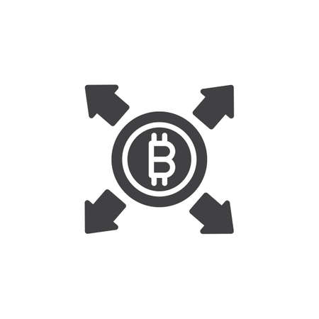 Bitcoin with all direction arrows vector icon. filled flat sign for mobile concept and web design. Cryptocurrency money spread simple solid icon. Symbol, logo illustration. Vector graphics.