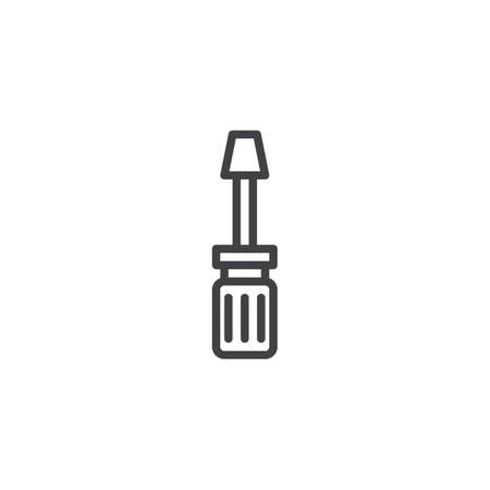 Screwdriver outline icon. linear style sign for mobile concept and web design. Repair simple line vector icon. Symbol, logo illustration. Pixel perfect vector graphics