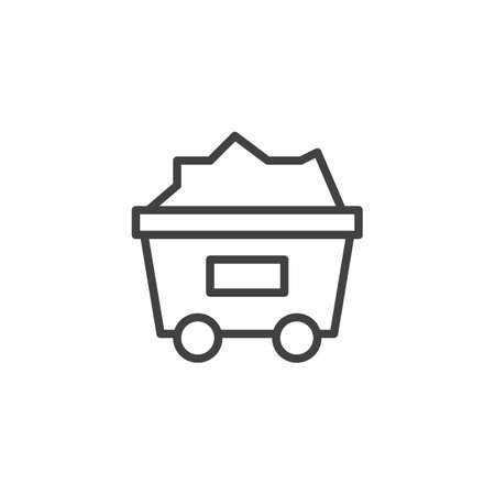 Coal trolley outline icon.