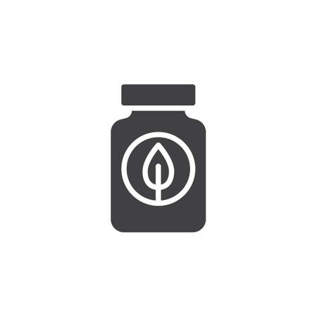 Fertilizer bottle vector icon. filled flat sign for mobile concept and web design. Jar with leaf simple solid icon. Symbol, logo illustration. Pixel perfect vector graphics