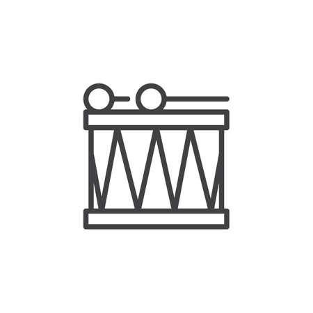 Drum and stick outline icon. linear style sign for mobile concept and web design. Percussion instruments simple line vector icon. Symbol, icon illustration.