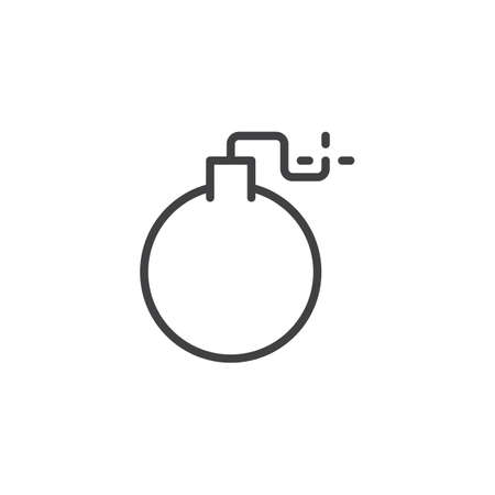Simple linear style of bomb icon for a mobile concept and web design, vector icon illustration. Ilustração
