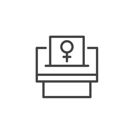 Woman suffrage outline icon. linear style sign for mobile concept and web design. Feminism simple line vector icon. Symbol, logo illustration. Pixel perfect vector graphics Banco de Imagens - 96456235