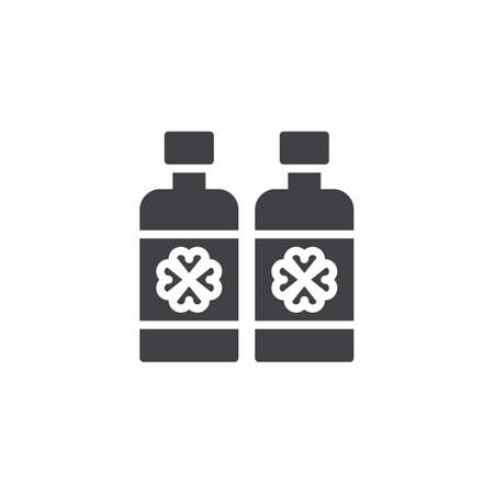Beer bottle with clover vector icon. filled flat sign for mobile concept and web design. Irish beer bottle simple solid icon. St. Patricks day symbol, logo illustration  イラスト・ベクター素材