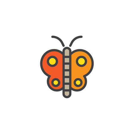 Butterfly filled outline icon, line vector sign, linear colorful pictogram isolated on white. Symbol, logo illustration. Pixel perfect vector graphics Ilustração