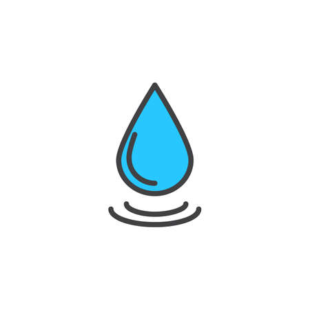 Water drop filled outline icon, line vector sign, linear colorful pictogram isolated on white. Droplet symbol, logo illustration. Pixel perfect vector graphics 矢量图像