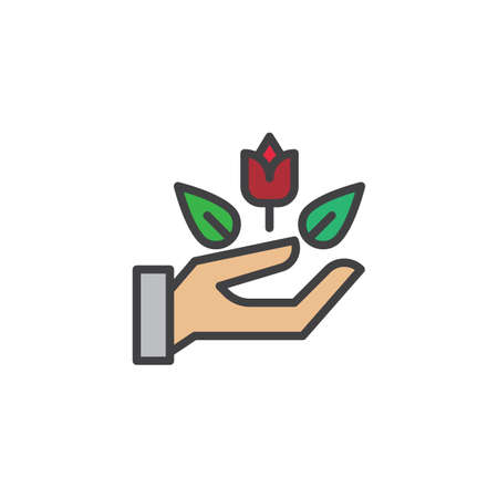 Rose flower in hand filled outline icon, line vector sign, linear colorful pictogram isolated on white. Hand holding rose symbol, logo illustration. Pixel perfect vector graphics  イラスト・ベクター素材