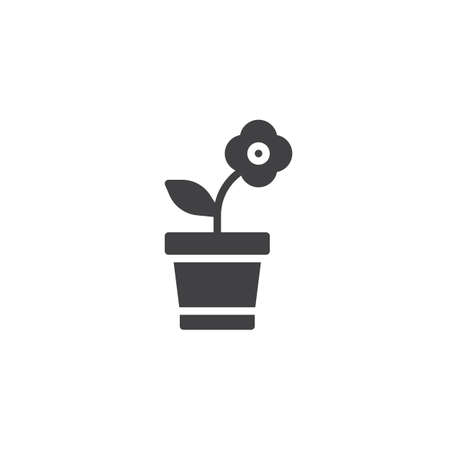 Flower in pot vector icon, filled flat sign for mobile concept and web design.